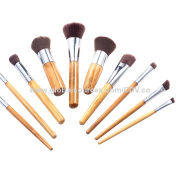 Bamboo make-up brushes, made of original bamboo handle and aluminum ferrule, great synthetic hair