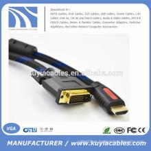 Cable de 1080p 5ft / 1.5M HDMI a la cuerda de DVI24 + 1 para PS3 Blu-ray DVD HDTV LCD 1080P XBOX