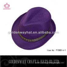 2013 nuevos sombreros púrpuras del sombrero del fedora del diseño el poliester barato con adorna crea la venta al por mayor de la cinta