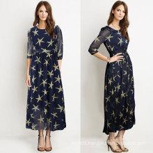 Summer Dress Stars Printed Chiffon Office Chiffon Dress Design