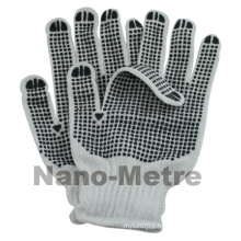 NMSAFETY 10 gauge two sides PVC dots bleached white cotton 750g per dozen working gloves for driving and farming
