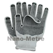 NMSAFETY 10 calibre dois lados PVC pontos branqueados algodão branco 750g por dúzia de luvas de trabalho para dirigir e agricultura