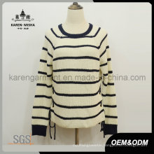 Striped Long Sleeve Round Neck Knitted Ladies Pullover Sweater