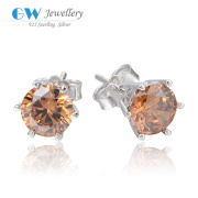 Simple Earrings Jewelry Design With Brown Zircon Bulk Buy From China
