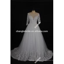 2017 nueva llegada de manga larga vestido de boda vestido de princesa vestido de novia