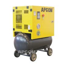 APCOM low noise 0.5m3/min single phase rotary 5hp screw air compressor 4kw 18 cfm 8bar