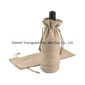 Sacos personalizados do presente do vinho da juta da garrafa com cordão