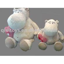 hipopótamo de pelúcia recheado com coração, animal macio dos namorados brinquedo, cavalo de rio