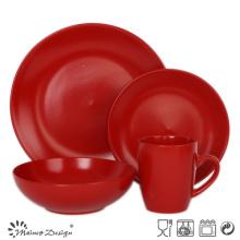 16PCS красный круглый матовый красочный керамический набор ужин