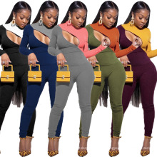 2021 Night Club Style Two Piece Set Women Clothing Sexy Contrast Spliced Womans Clothing 2 Piece Two Piece Set