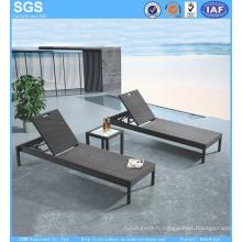Mobilier d'extérieur bon marché PE Rattan Sun Lounger