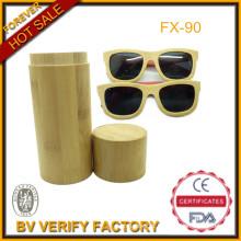 Top vendas 100% artesanal de alta qualidade bambu óculos de sol com óculos de sol de madeira caso