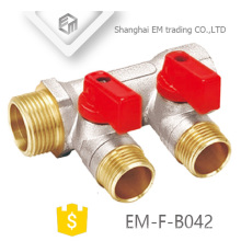 EM-F-B042 Nickel plated brass ball valve 2-way manifold