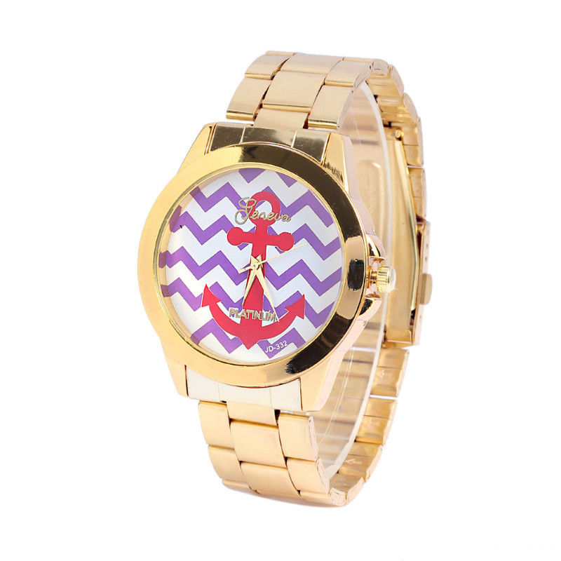 Women Fashion Gold Plated Metal Link Wristwatch