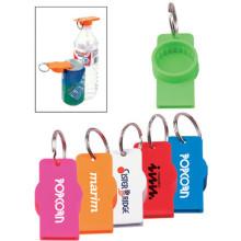 Lata promocional o abrelatas de botella de agua con llavero