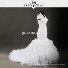 RSW704 Ruffle falda V cuello de encaje tapa de manga patrón Ghana Vestidos de novia