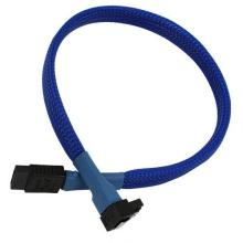 Blue Sleeved SATA 7pin Right Angle to Straight Data Cable