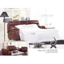 Современный кожаный раскладной диван-кровать 847 #