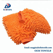 2-Pack Premium Chenille Microfiber Cleaning Glove Scratch-Free Car Wash Mitt Orange