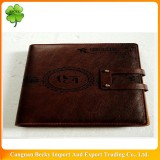 Classical and promotional 6 ring binder embossed leather agenda with closure and pockets and pen holder