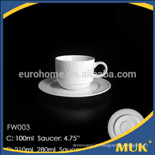 healthy korean style durable white porcelain coffee cups and saucer FW003