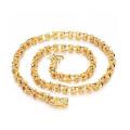 Colares de corrente cubana de ouro robusto, chapeamento de cobre 18k jóias de ouro