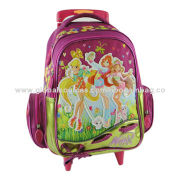 Trolley School Bag with Adjustable 5-belt Zipper, Made of Polyester MaterialNew