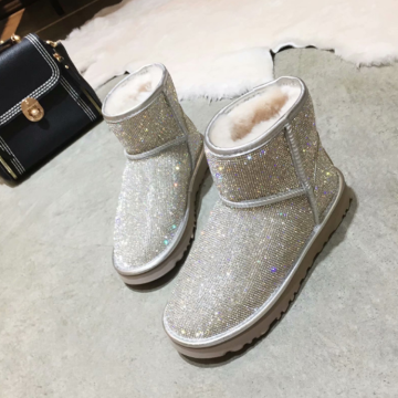 Women's Winter Warm Faux Sheepskin Shiny Snow Boots