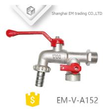 EM-V-A152 Nickle pulido macho unión latón tres vías grifos
