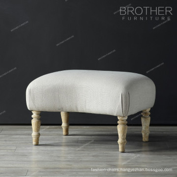 High End Luxury Fabric Wood Leg Living Room Ottoman