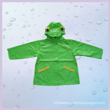 Green Hooded Long Pvc Rain Coats With Cartoon Printed For Promotion