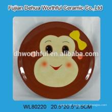 Popular monkey design ceramic round plate for tableware