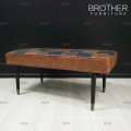 Hotel home bedroom furniture single leather bed end step stool