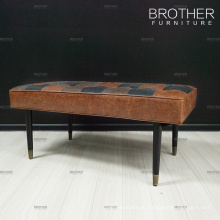 Домашняя гостиница мебель для спальни односпальная кожаная кровать конец стул-стремянка