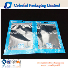 Customized food packaging zip lock bags clear plastic bag with hanger hole