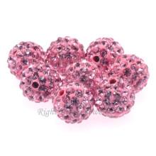 Mejor calidad DIY 6MM 8MM 10MM arcilla rosa Shamballa pavimentada suelto bolas