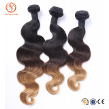 Cheap Price 100% Unprocessed Can Be Dyed Any Color Human Hair 3 Tone Color Brazilian Ombre Hair Weave