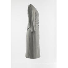 Langer grauer Streifen-Staubmantel für Damen