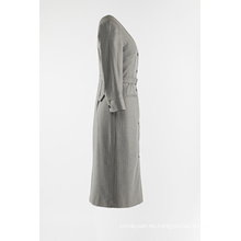 Abrigo largo de rayas grises