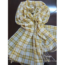100%mercerized wool check worsted woven scarf