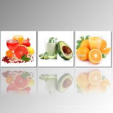 3 panel de fruta foto de impresión giclée en lienzo jugo lona de arte de pared para la venta al por mayor