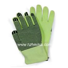 Gants résistants à la coupe au point de PVC Gant de travail de sécurité vert Hi-Vis