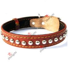 Collar de perro de cuero genuino de Brown para los accesorios del animal doméstico (PC-16)