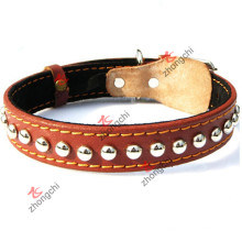 Brown Genuine Leather Dog Collar for Pet Accessories (PC-16)