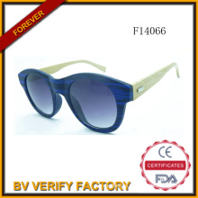 F14066 New Design Cat Eye Round Frame with Bamboo Arms Sun Glass