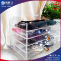 5 Tier Clear Acrylic Makeup Organizer with Crystal Knob