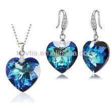 Elegante forma de coração jóias conjunto de jóias de cristal de casamento conjunto
