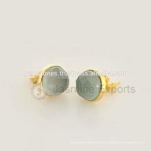 Venda Por Atacado Vermeil Gold Semi Precious Gemstone Stud Earrings, 925 Sterling Silver Gemstone Bezel Brincos Jóias Fabricante