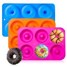 Food Grade Baking Tray DIY Doughnuts Cake Mould 6 Cavity No Stick Large Donut Mold Silicone