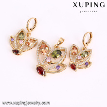64143 Newest simple designed fashion colourful pendant best selling gold plated women jewelry sets